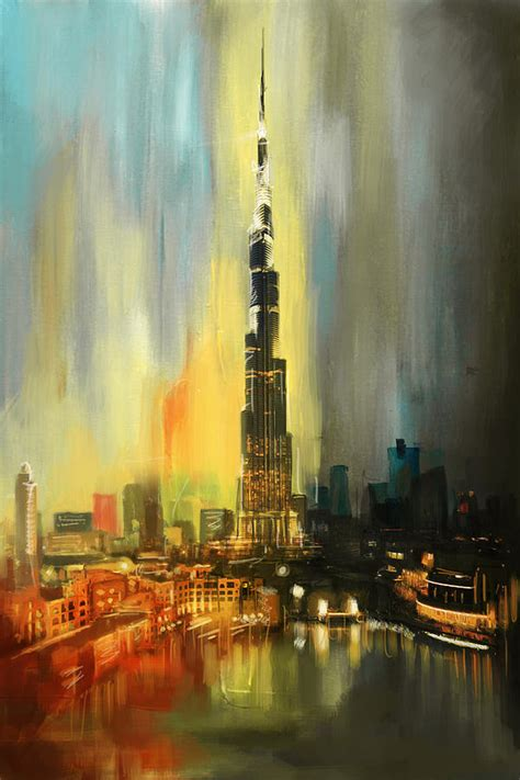 Skyline Home Decor portrait of burj khalifa painting by corporate art task force