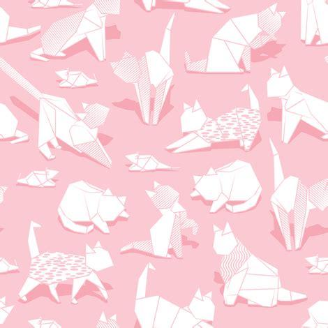 Origami Kitten - origami kitten friends pastel pink background white