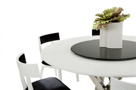a x spiral modern round white dining table with lazy susan a x spiral modern round white dining table with lazy