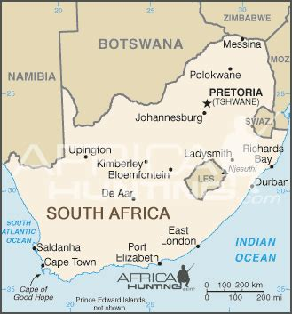 Outline Map Of South Africa With Major Cities by South Africa Information Africahunting