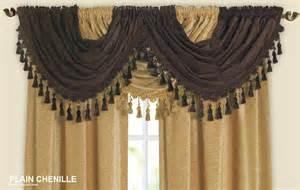 Kitchen Valances And Swags Designer Curtain Swag Chenille Fabric With Beaded Tassels