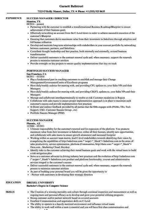 Customer Success Manager Resume by Success Manager Resume Sles Velvet