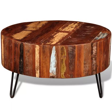round end table wood reclaimed solid wood round coffee table vidaxl com
