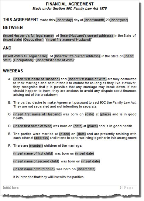 Postnuptial Post Marriage Agreements Family Law Australia Post Nuptial Agreement Template