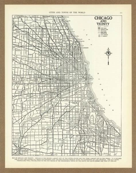 chicago map 1930 vintage map of chicago illinois from 1936 antique 1930s