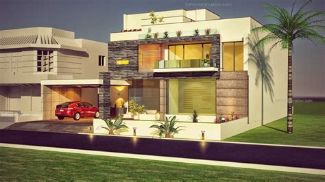 3d front elevation com beautiful contemporary house 3d front elevation com 1 kanal plot new beautiful