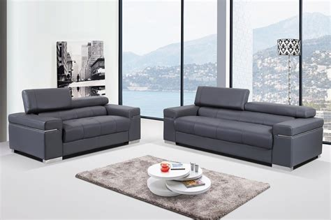 Loveseat And Chair Set Contemporary Grey Italian Leather Sofa Set With Adjustable Headrest San Diego California J M Soho