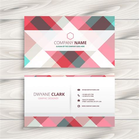 pastel color card templates checkered business card in pastel colors vector free