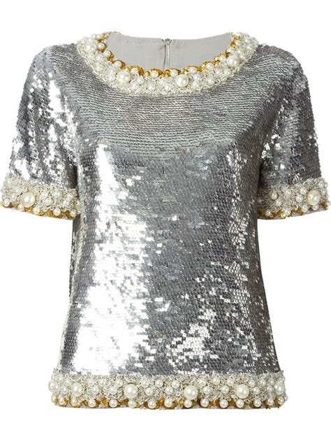 Embellished Top lyst ashish sequin embellished top in metallic