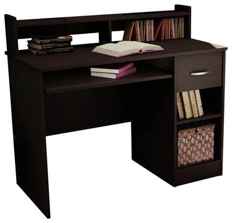 South Shore Computer Desk South Shore Axess Small Wood Computer Desk With Hutch In Chocolate Transitional Desks And