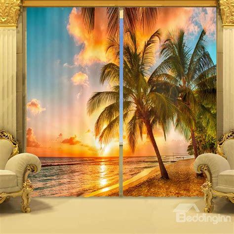 sunset curtains coconut tree in sunset print 3d curtain beddinginn com