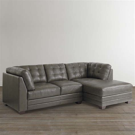 living room slate grey leather right chaise sectional