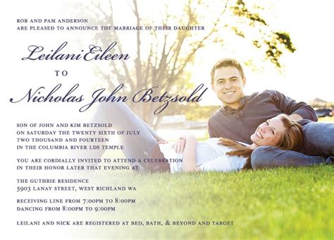Wedding Announcements Utah by Lailanie Nicholas Front Utah Announcements Wedding