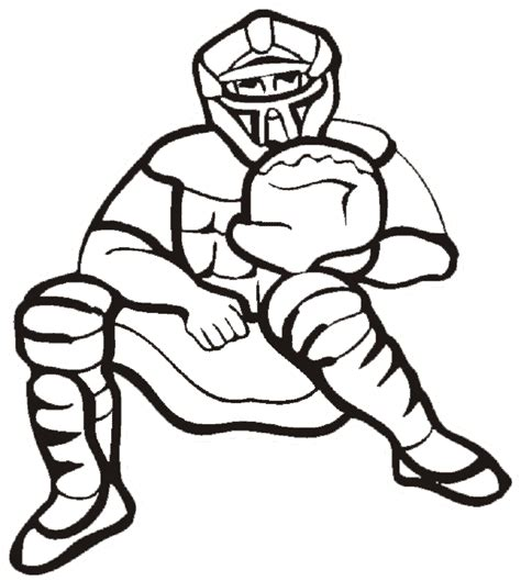 baseball coloring page catcher stands behind the plate