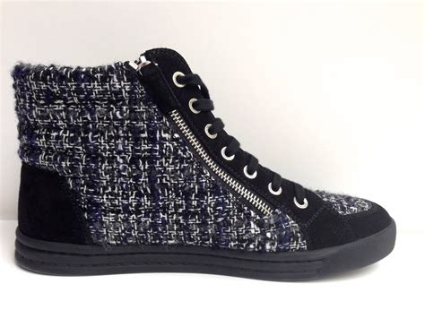 chanel sneakers tweed chanel lace up tweed cc logo pearl high top sneakers at