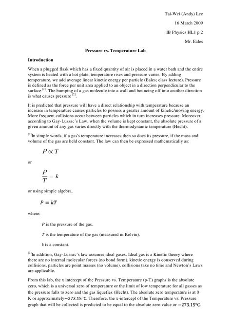 sle gas law constant lab report andy lee pressure temp lab