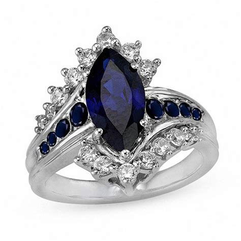 marquise lab created blue and white sapphire sunburst