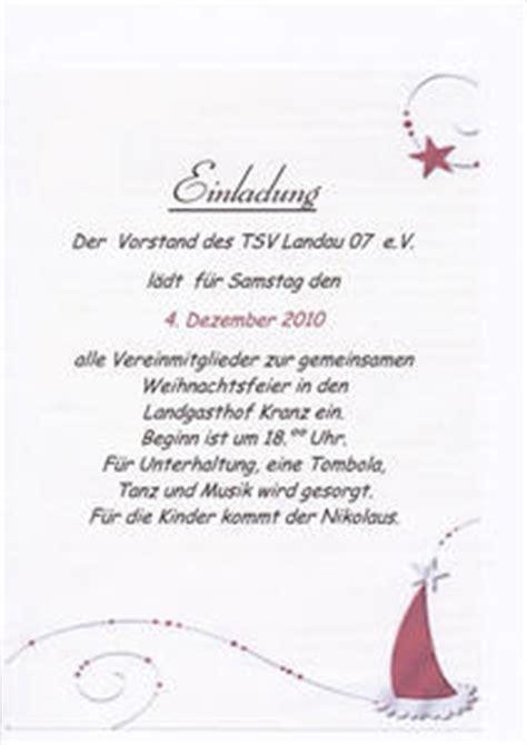 Muster Einladung Jahresabschlussfeier Weihnachtsfeier Tsv Landau 07 E V Bad Arolsen Myheimat De
