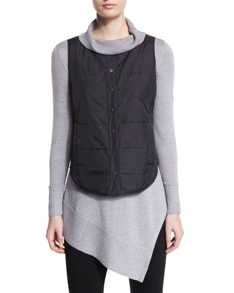 black quilted vest eileen fisher classic quilted vest in black lyst