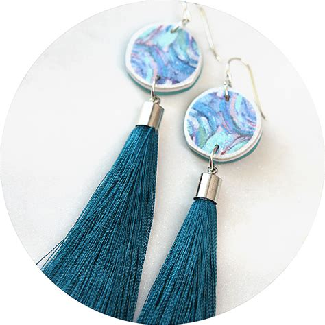 Melbourne Handmade Jewellery - paint me teal tassel earrings unique jewellery