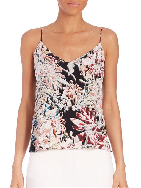 Floral Tank Top lyst l agence silk floral print tank top in pink