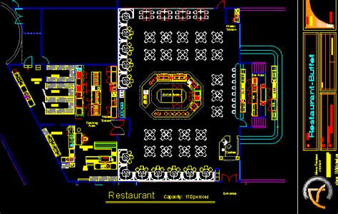 buffet restaurant  floor plans  dwg design plan