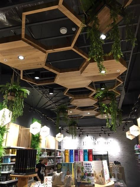 honeycomb ceiling feature  black exposed ceiling