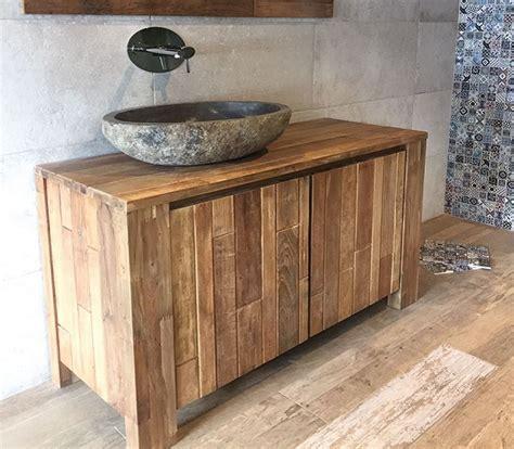 arredo bagno legno naturale arredo bagno legno di recupero massello l 130 x h 75 x p