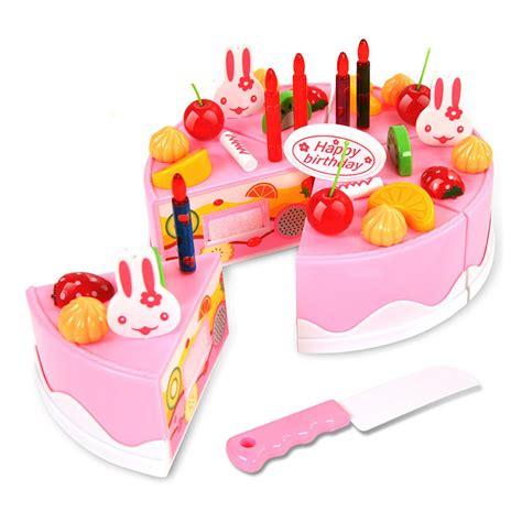 Birthday Cake Cutting Toys by Unisex 37pcs Plastic Kitchen Cutting Birthday Cake