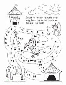 counting 1 20 let s go to the circus worksheet
