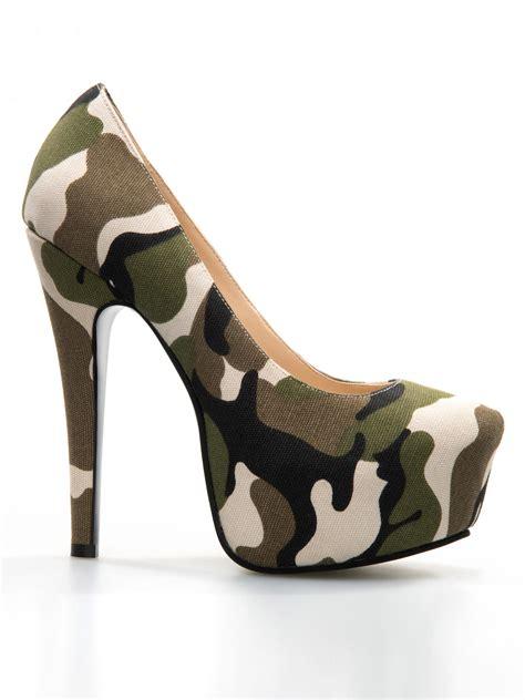 chic camouflage platform high heels shoespie