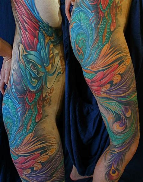 Tattoo Body Color | peacock color tattoo by mike demasi tattoonow