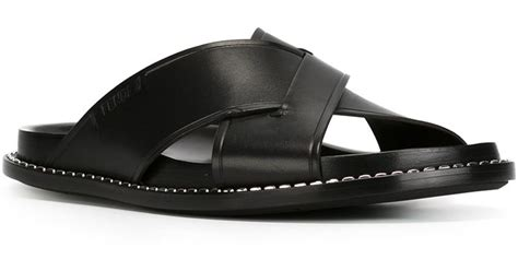fendi sandals mens fendi crisscross sandals in black for lyst