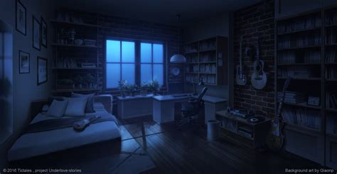 Hidden Office Desk bed room night visual novel background by giaonp on