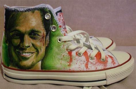 fight club custom hand painted converse chuck taylors