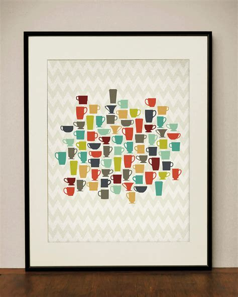 Etsy Kitchen Prints by Retro Kitchen Coffee Cups 11x14 Print By Projecttype On Etsy