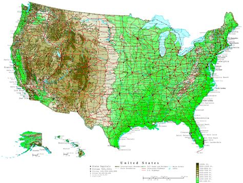 map of usa with states united states contour map