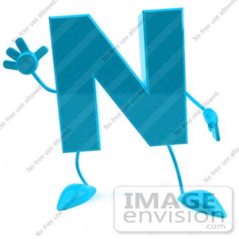 Character With Letter N Royalty Free Rf Illustration Of A 3d Turquoise Letter N Character With Arms And Legs 43747