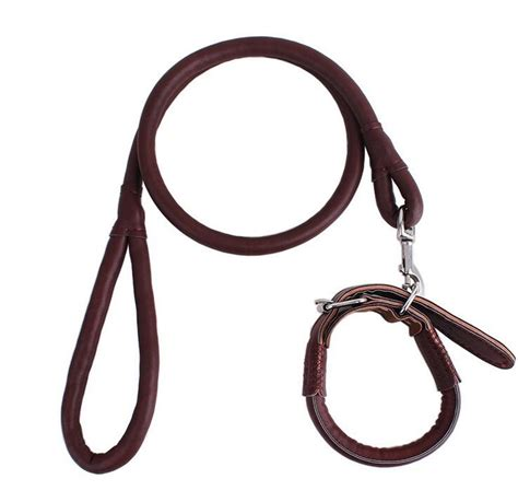 chain leash pet collar leash chain pu leather rope traction rope ebay