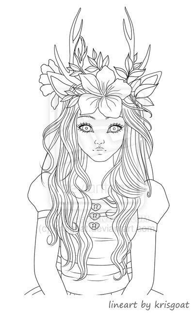 vampire coloring pages  adults fawn girl coloring