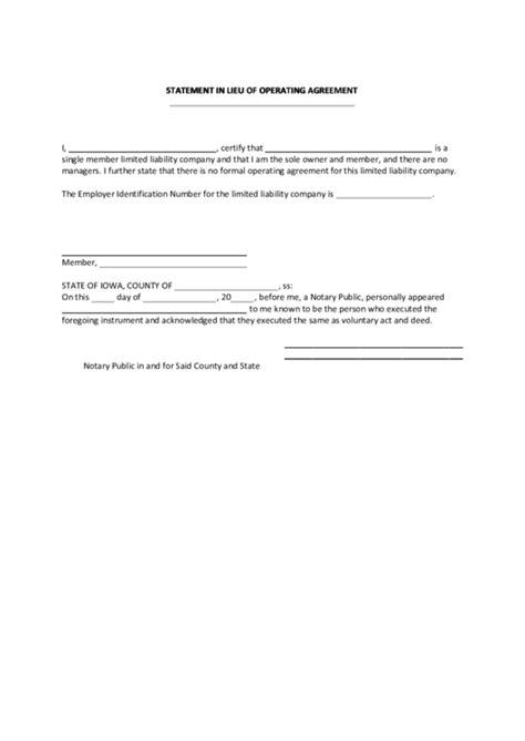 fillable statement  lieu  operating agreement