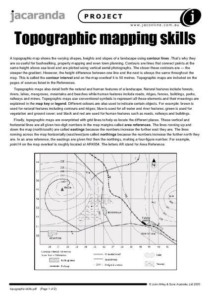 Topographic Maps Worksheet by Topographic Mapping Skills Worksheet Lesson Planet