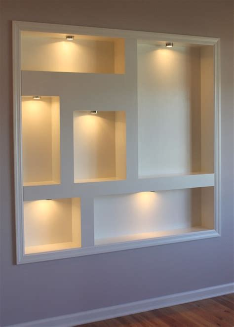 Kitchen Shelves Decorating Ideas lighted display niches contemporary new york by