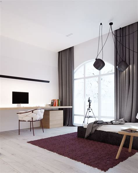 grey and maroon bedroom a cleverly decorated family home in ukraine