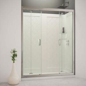 trackless bathtub doors dreamline butterfly 60 in x 76 3 4 in bi fold trackless shower door in chrome with