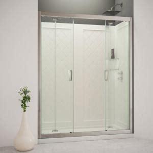Trackless Shower Door Dreamline Butterfly 60 In X 76 3 4 In Bi Fold Trackless Shower Door In Chrome With Shower Base
