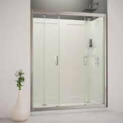 trackless bathtub shower doors dreamline butterfly 60 in x 76 3 4 in bi fold trackless