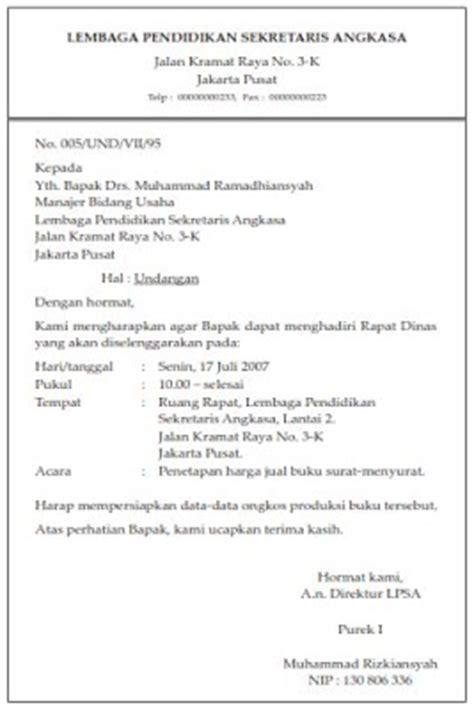 pengertian bagian bagian surat undangan cotoh surat