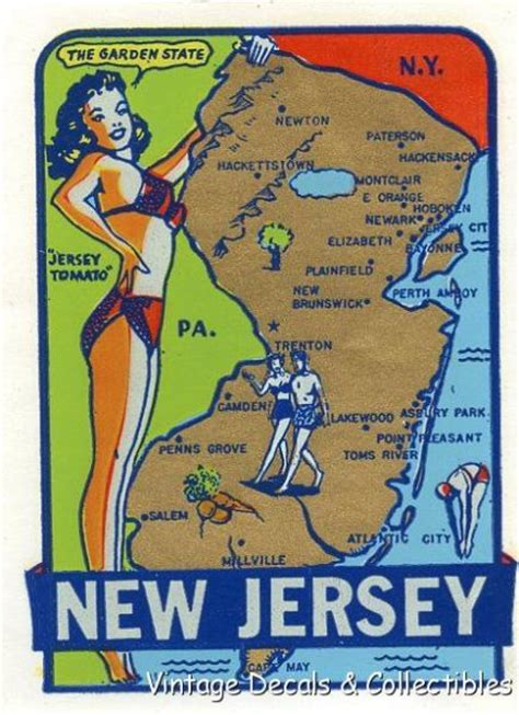 Garden State New Jersey by Vintage New Jersey Tomato Garden State Pin Up Girlie