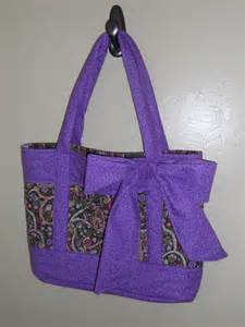 Handmade Quilted Bags - handmade quilted purse tote bag in purple by